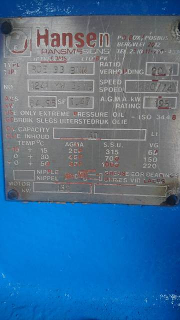 HANSEN Industrial Gearbox with ALSTOM Electrical Motor Power pack